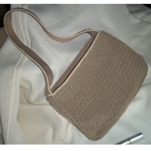 Liz Claiborne Villager Handbags - Petite Taupe and Bone Macrame Shoulder Bag